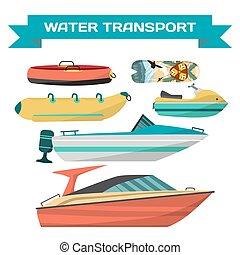 satz, von, wasser, fahrzeuge, für, reiten, auf, der, strand., motorboote, motorroller, düse, surfbretter, banane, und, tube., meer, und, fluß, transportation., freigestellt, weiß, hintergrund