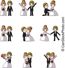 satz, von, wedding, und, braut
