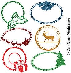 satz, von, weihnachten, briefmarken