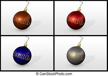 satz, von, weihnachten, kugeln