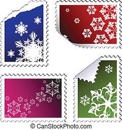 satz, von, weihnachten, pfahl, briefmarken