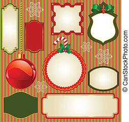 satz, von, weihnachten, vektor, rahmen