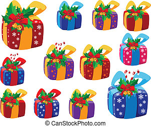 satz, von, weihnachtsgeschenke, kasten