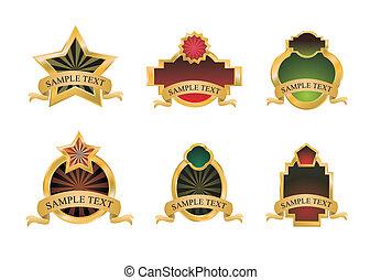 satz, von, weinlese, gold, embleme