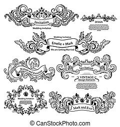 satz, von, weinlese, viktorianische , ornaments., wedding, design.