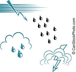 satz, von, welle, symbole, und, lightning., eps10