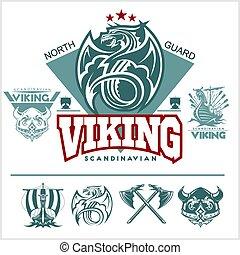 satz, von, wickinger, embleme, etiketten, und, logos., monochrom, stil