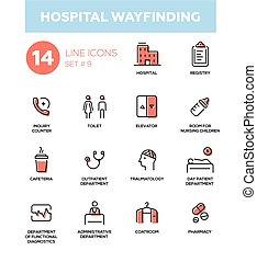 satz, wayfinding, einfache , -, klinikum, modern, heiligenbilder, pictograms, design, dünne linie