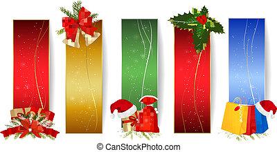 satz, weihnachten, winter, banners.
