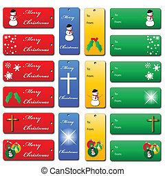 satz, weihnachtsgeschenk, etikette