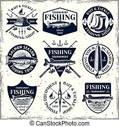 satz, weinlese, embleme, vektor, neun, fischerei