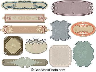 satz, weinlese, etiketten, vektor, dein, design.