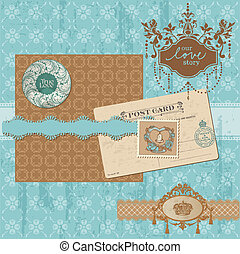 satz, weinlese, -, vektor, design, wedding, sammelalbum, elemente