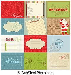 satz, weinlese, vektor, design, weihnachten, elemente