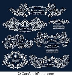satz, weinlese, viktorianische , wedding, ornaments., design.