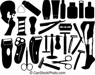 satz, werkzeuge, rasieren