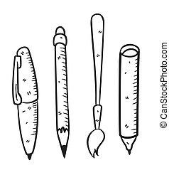 satz, werkzeuge, zeichnung