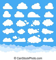 satz, wolkenhimmel, karikatur