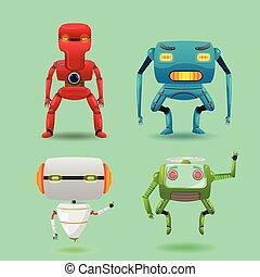 satz, zeichen, roboter, sammlung, maschine, vektor