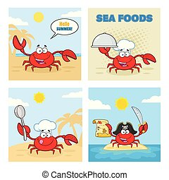 satz, zeichen, sammlung, 4., vektor, krabbe, karikatur