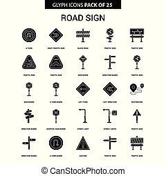 satz, zeichen, vektor, glyph, straße, ikone