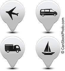 satz, zeiger, -, eben, vektor, transport, auto, schiff