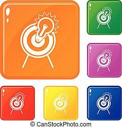 satz, ziel, heiligenbilder, farbe, vektor, zwiebel