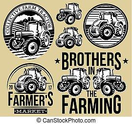 satz, zwei, traktoren, muster, monochrom, landwirtschaft, arten