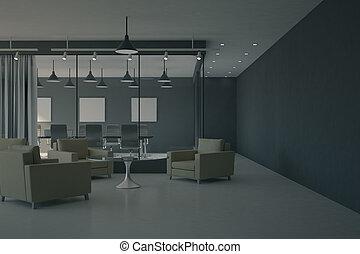 sauber, bürolobby, inneneinrichtung