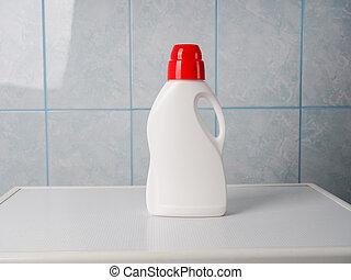 sauber, flasche, innen, reinigungsmittel, maschine, wäscherei, tag, raum, wäsche, text., handtücher