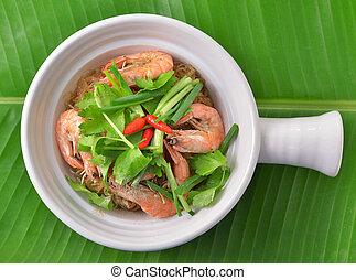 sauce., 食物, vermicelli, 超えられた, エビ, ぴりっとする, タイ人, 焼きなさい