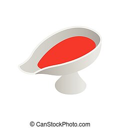 Sauce boat with red sauce isometric 3d icon