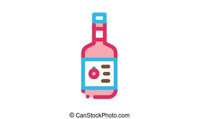 Sauce Bottle Icon Animation. color Sauce Bottle animated icon on white background