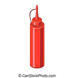 Sauce bottle icon, cartoon style