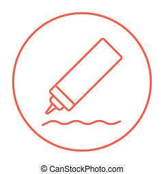 Sauce bottle line icon.