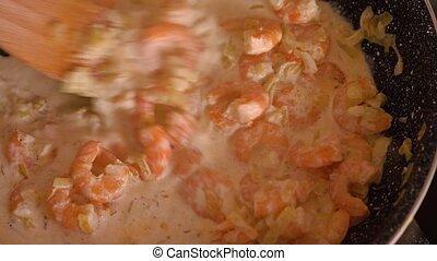 sauce, cuisine, closeup, crevette, garlic-cream