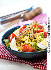 sauce., ensalada, fruta cítrica, salmón, tartare, huevo, vinagreta, tomate, fumados, pastas