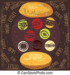 sauce, ensemble, oignons, côtelettes, tomates, ingrédients, juteux, isolé, hamburger, salade, vecteur, délicieux, fromage, illustration