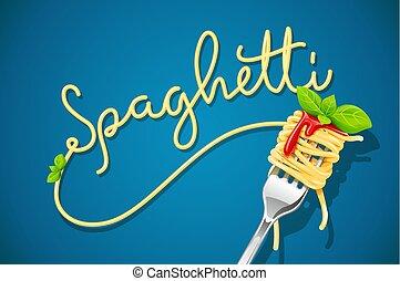 sauce., espaguetis, albahaca, tenedor