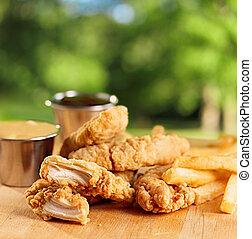 sauce., frigge, francese, striscie, pollo, fritto