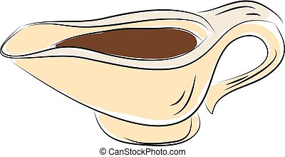 Sauce holder hand drawn design, illustration, vector on white background.