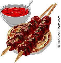 sauce, kebabs