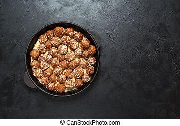 sauce, meatballs., teriyaki, juteux, viande