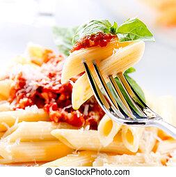 sauce, ost, bolognese, pasta, parmesan, penne, basilika