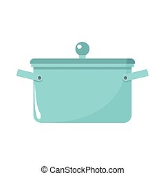 Saucepan cartoon icon. Kitchen tools, cookware and kitchenware vector illustration