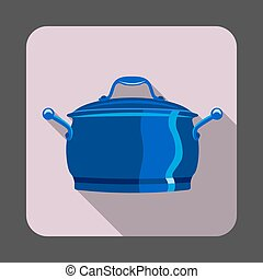 Saucepan concept background, cartoon style