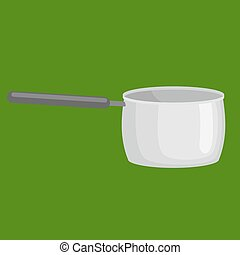 saucepan for cooking food at kitchen, empty metallic pan, isolated utensil, kitchenware equipment vector illustration
