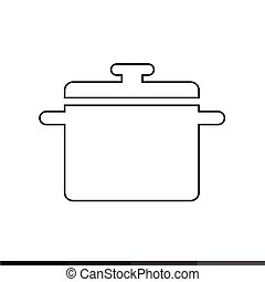 Saucepan icon, Kitchen pan icon Illustration design