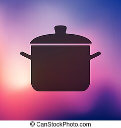 saucepan icon on blurred background