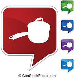 Saucepan web button isolated on a background